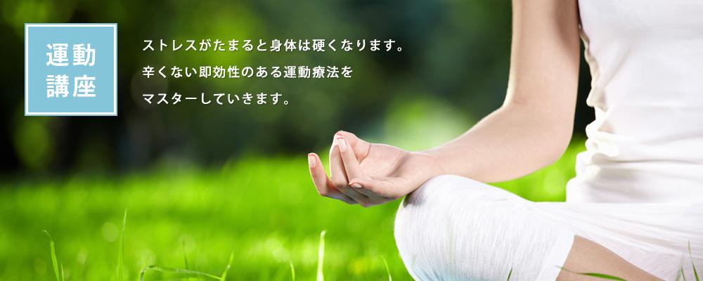 ストレスがたまると身体は硬くなります。 辛くない即効性のある運動療法を マスターしていきます。