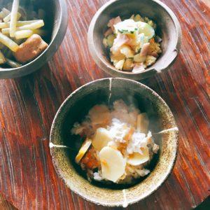 ホクホクくわいの炊き込みご飯とくわいのポテサラ風